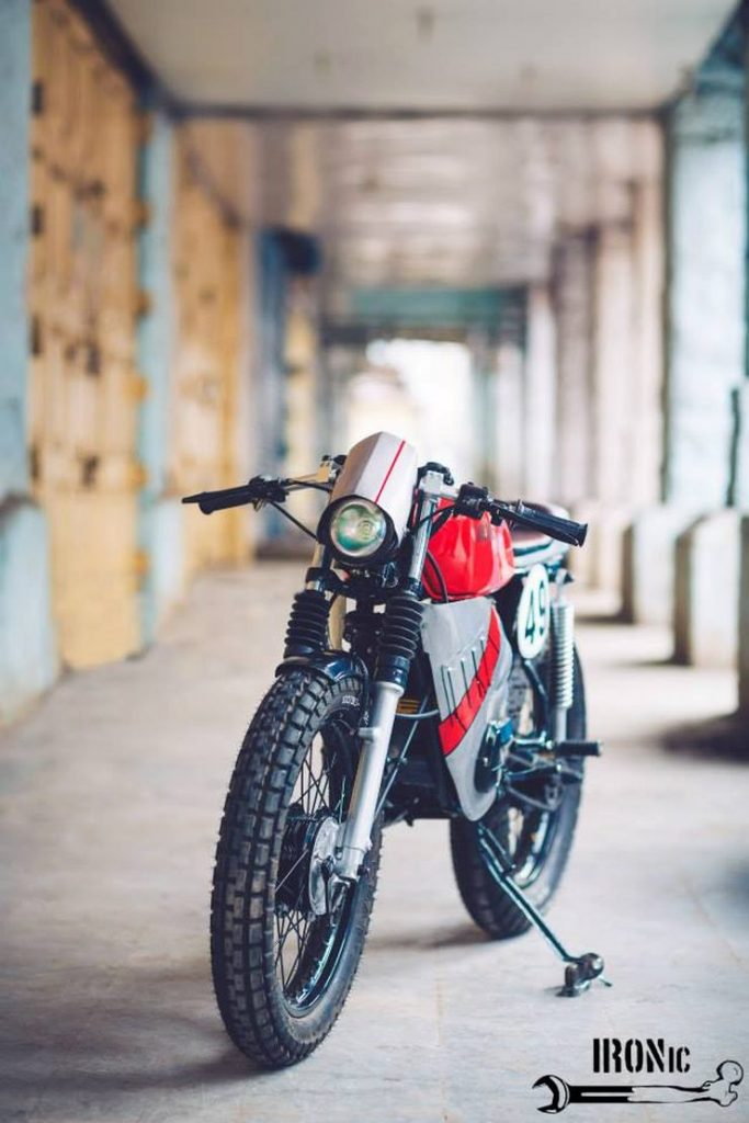 This customised Yamaha RX100 cafe racer will almost perish