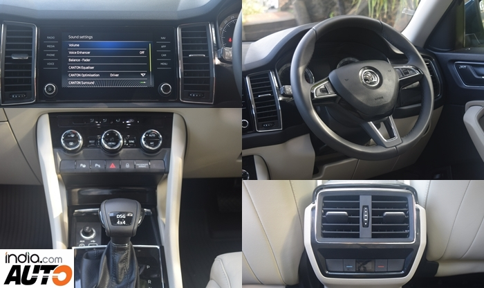 Skoda Kodiaq Interior - Centre Console, Steering Wheel, Rear AC Vents & Infotainment System.