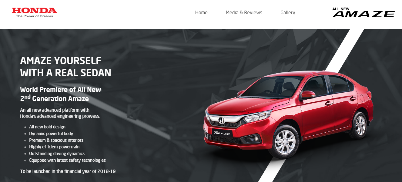 Honda Official Site >> Honda Amaze 2018 Listed On Official Website Ahead Of India Launch