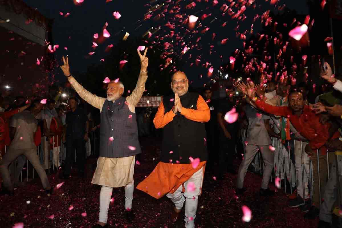 Modi shah in bjp hq
