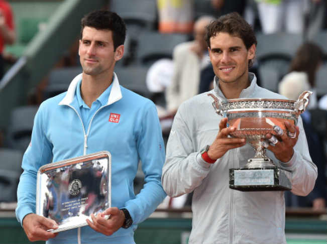 Rafael Nadal of Spain and Novak Djokovic of Serbia
