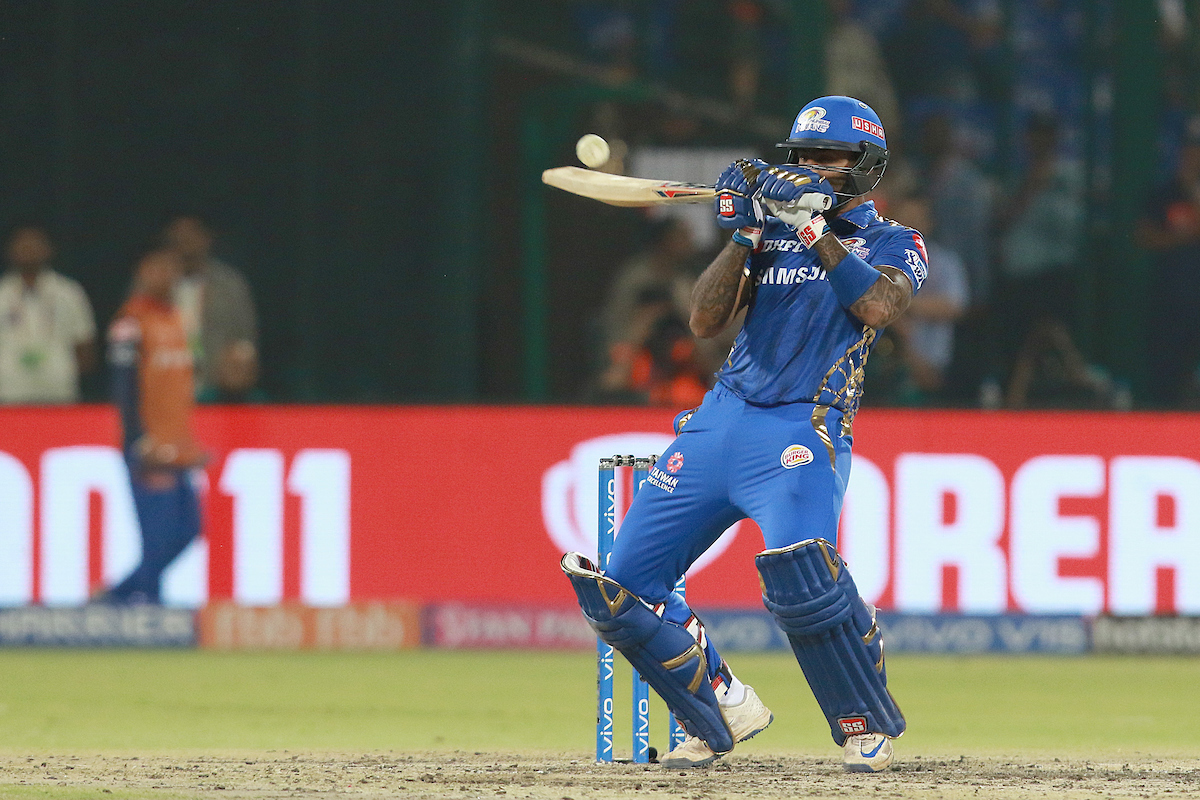 Suryakumar Yadav of MI plays a shot during match 34 of the Vivo Indian Premier League Season 12  2019 between the Delhi Capitals and the Mumbai Indians held at the Feroz Shah Kotla Ground  Delhi on the 18th April 2019Photo by  Rahul Gulati  SPORTZPICS for BCCI