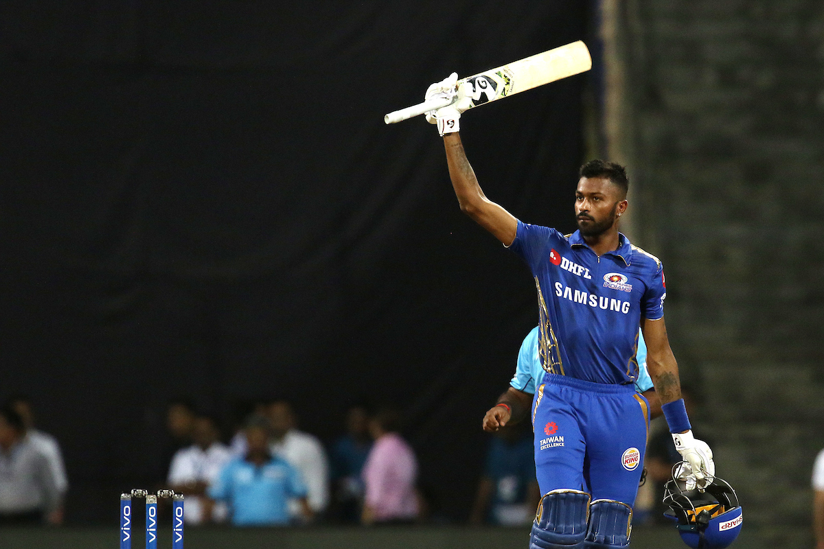 Hardik Pandya of Mumbai Indians celebrates after winning the match 31 of the Vivo Indian Premier League Season 12  2019 between the Mumbai Indians and the Royal Challengers Bangalore  held at the Wankhede Stadium in Mumbai on the 15th April 2019Photo by  Faheem Hussain  SPORTZPICS for BCCI