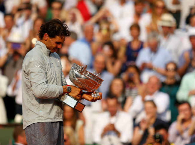 Rafael Nadal of Spain with the French Open 2014 trophy