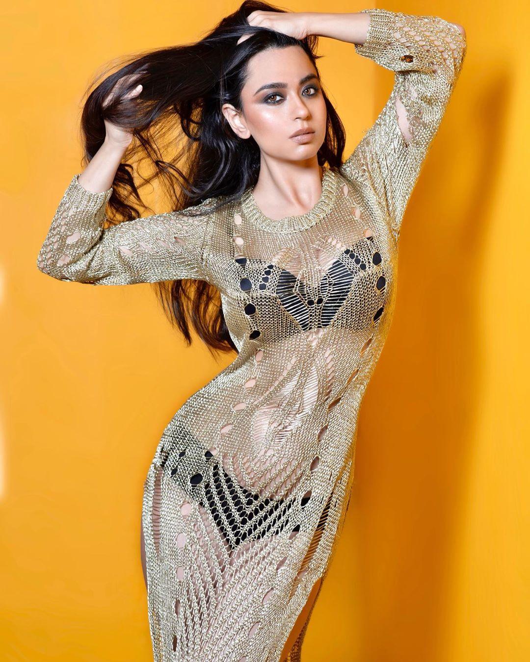 Soundarya Sharma flaunts her figure