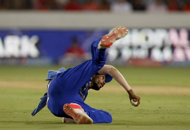 Hyderabad: A Mumbai Indians player in action during an IPL 2015 match between Sunrisers Hyderabad and Mumbai Indians at the Rajiv Gandhi International Cricket Stadium in Hyderabad on May 17, 2015. (Photo: IANS)