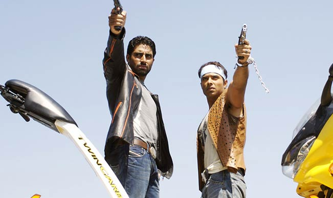 Abhishek Bachchan and Uday Chopra in Dhoom