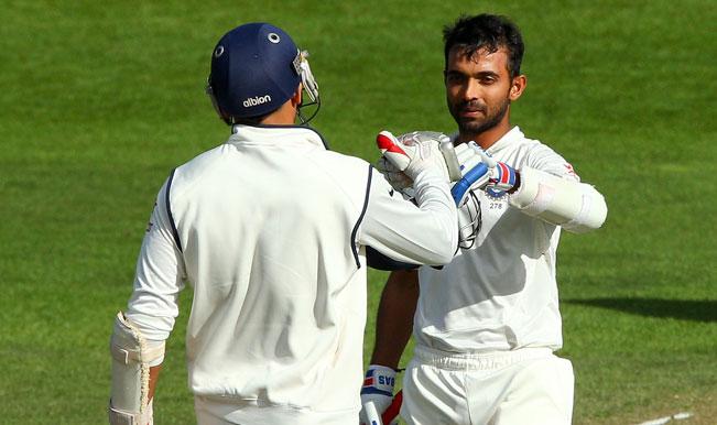 Ajinkya-Rahane-of-India-celebrates-his-century-with-teammate-Zaheer-Khan-during-day