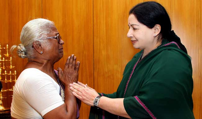 Arputham-Ammal,-mother-of-Perarivalan,-one-of-the-assassins-of-former-prime-minister-Rajiv-Gandhi-meets-Tamil-Nadu-Chief-Minister-Jayalalithaa