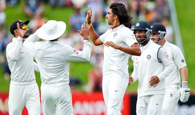Ishant-Sharma-of-India-celebrates-after-taking-the-wicket-of-Hamish-Rutherford-of-New-Zealand-du
