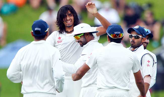 Ishant-Sharma-of-India-celebrates-after-taking-the-wicket-of-Peter-Fulton-of-New-Zealand-dur