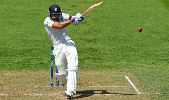 Virat-Kohli-of-India-bats-during-day-two-of-the-2nd-Test-match-between-New-Zealand