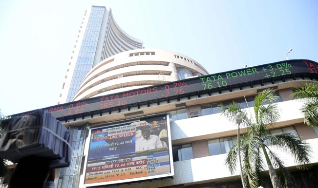 A-large-screen-outside-Bombay-Stock-Exchange-displays-live-telecast-of-Union-Finance