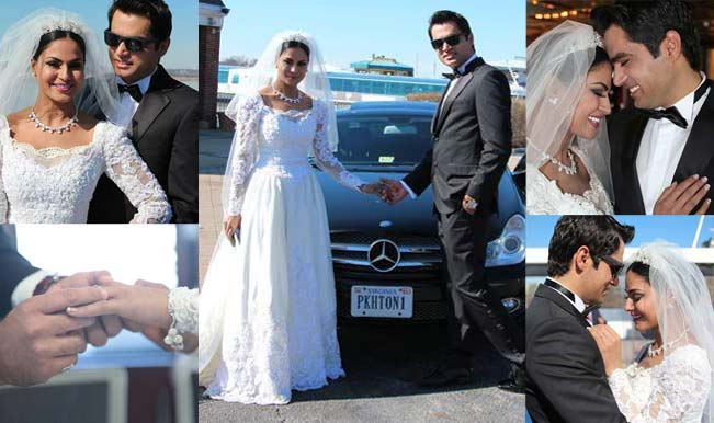Veena Malik and Asad Bashir Khan Khattak white Victorian wedding