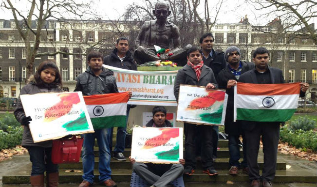 NRIs in London protesting at Mahatma Gandhi Statue in London seeking postal or online vote. The protest was organised by Pravasi Bharat in January. Photo: Pravasi Bharat Facebook page