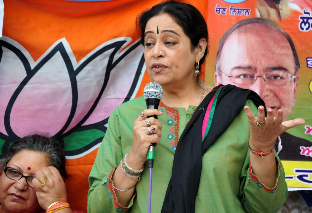 BJP candidate for 2014 Lok Sabha Election from Chandigarh, Kirron Kher during an election campaign in Amritsar on April 14, 2014. (Photo: IANS)