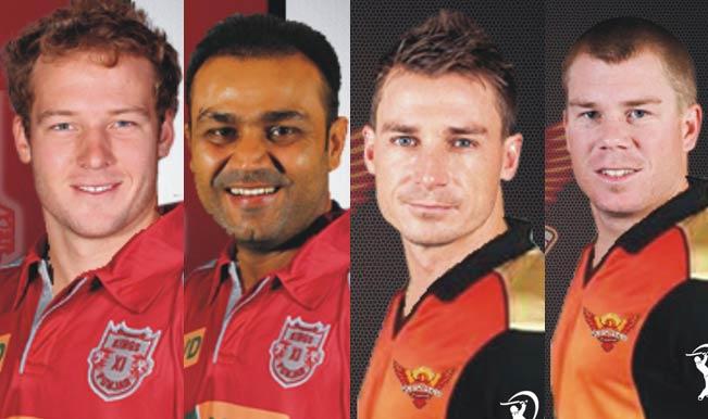 David-Miller-(Kings-XI-Punjab),-Virender-Sehwag-(KXIP),-Dale-Steyn-(SRH),--david-Warner-(SRH)
