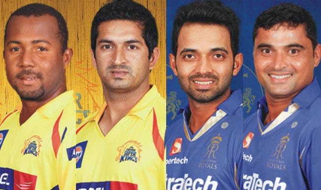 Dwayne-Smith-(Chennai-Super-Kings),Mohit-Sharma-(Chennai-Super-Kings),Ajinkya-Rahane-(Rajasthan-Royals),Pravin-Tambe-(Rajasthan-Royals)