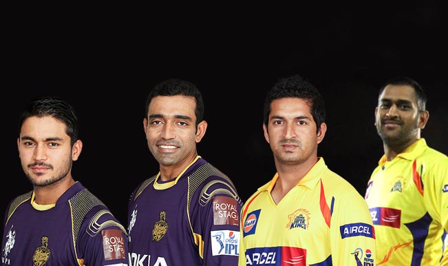 mahendra-singh-dhoni--manish-Pandey--Mohit-sharma--robin-uthhappa-KKR
