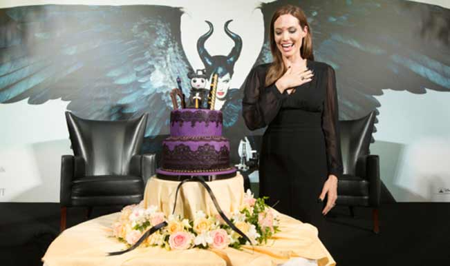 Angelina celebrates her birthday with Maleficent cake!