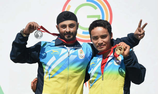 Jitu Rai and Gurpal Singh take the gold and silver medal in the 50m Pistol Men's finals