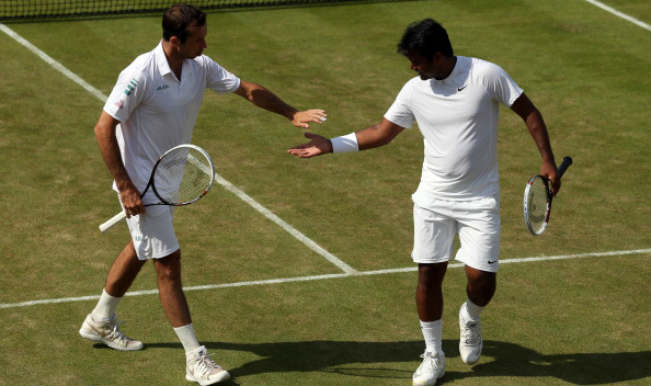 Radek Stepanek of Czech Republic and Leander Paes of India