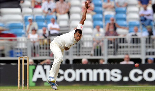 Stuart-Binny-of-India-bowls-during-day-one-of-the-tour-match-between