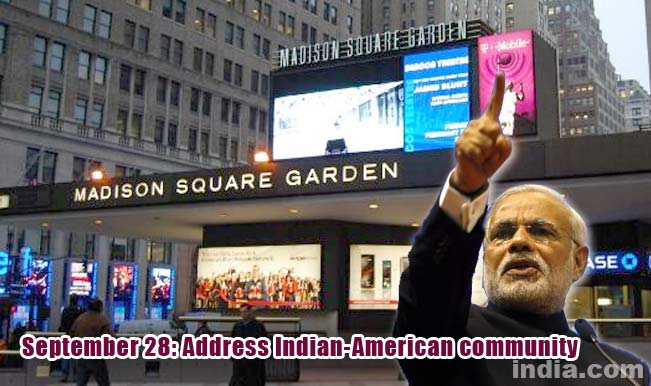 Narendra modi in united states of america complete schedule of modi 39 s visit for Address of madison square garden