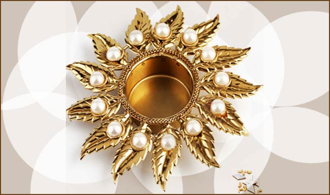 This Candle Or Diya Stand Is Adorned With Pearls To Make One Of The Best Options Diwali