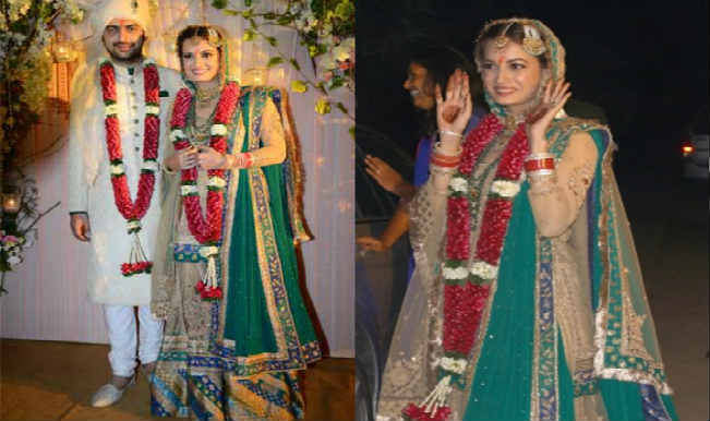 Dia mirza wedding collage
