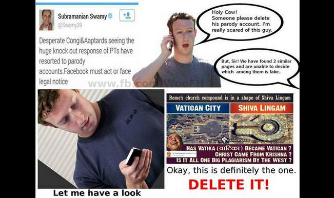 Facebook 'accidentally' deletes Subramanian Swamy's fan page thinking it's a parody account!