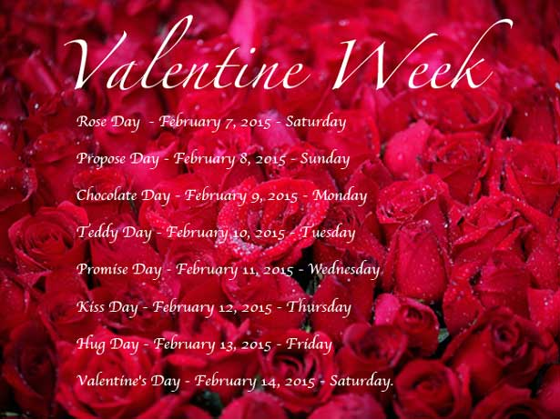 Valentine Week 2015 Dates When Is Rose Day Kiss Day Chocolate Day