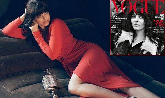Hot Aishwarya Rai Bachchans New Look In Orange And Black In Vogue March 2015