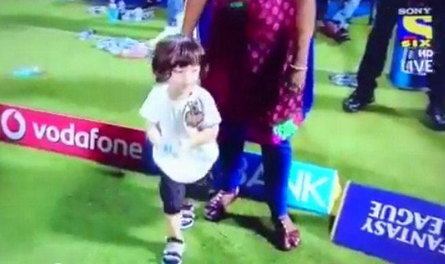 Cuteness alert: Shah Rukh Khan's son AbRam Khan plays on the IPL 2015 cricket ground! Watch video