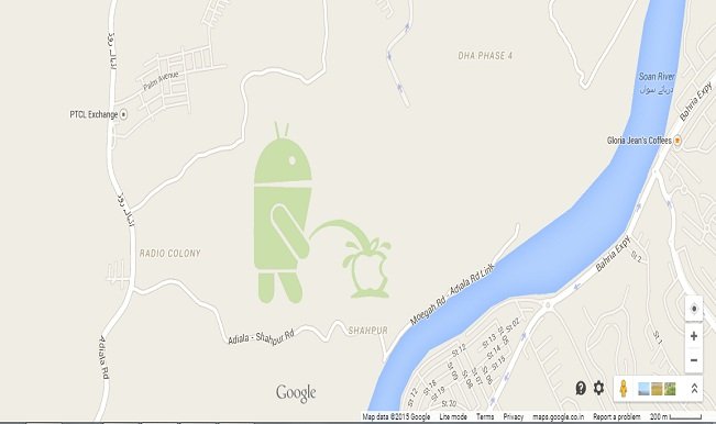 OMG! Google Maps displays Android bot peeing on Apple logo ...