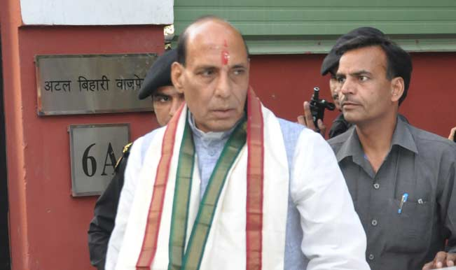 BJP-President-Rajnath-Singh-comes-out-of-former-Prime-Minister-Atal-Bihari