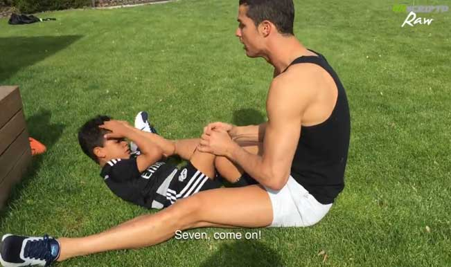 Real Madrid star Cristiano Ronaldo trains with his son Cristiano Ronaldo Jr. – Watch Video