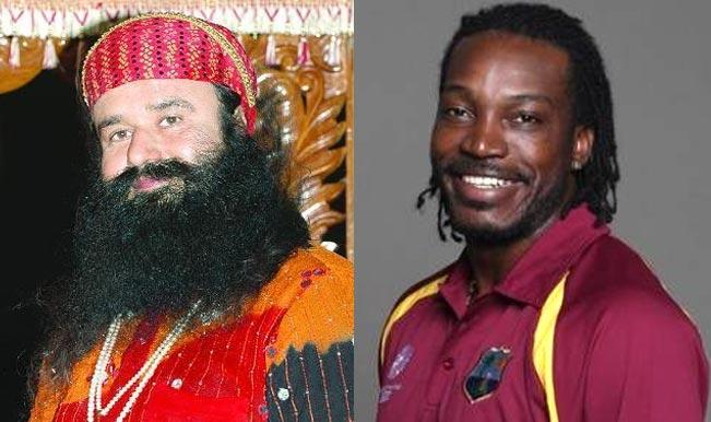 Chris Gayle and Gurmeet Ram Rahim Singh Insaan