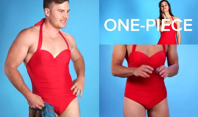 Guys in one piece bikinis