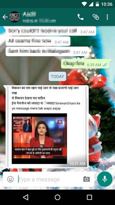 Bajrangi Bhaijaan: Morphed Whatsapp message against Salman