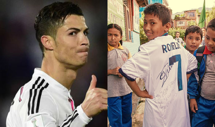 Cristiano Ronaldo Surprises 13 Year Old Nepal Earthquake Victim With Signed Real Madrid Jersey India Com