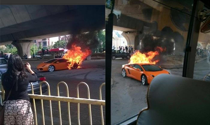 Lamborghini Gallardo Worth 2 5 Crore Caught Fire In Delhi Watch