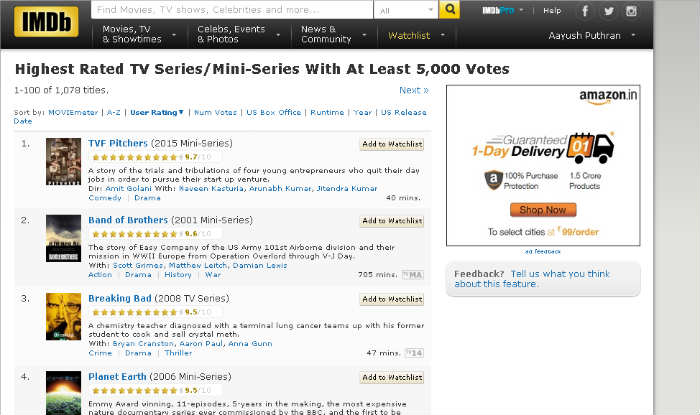 TVF Pitchers reaches top spot in IMDB Ratings for Highest