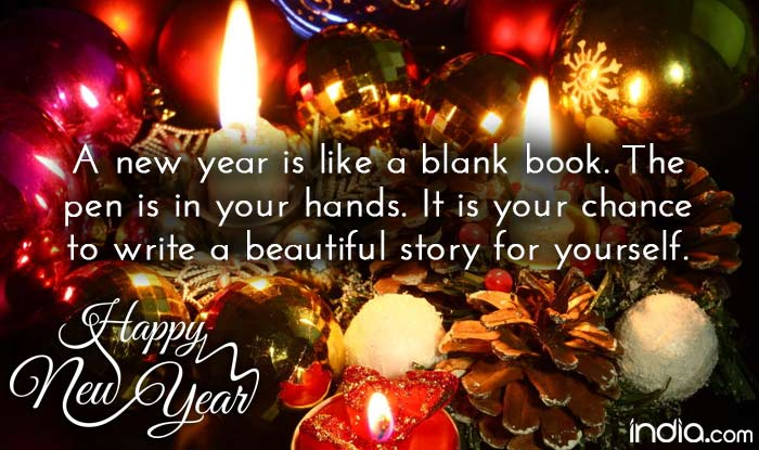 happy new year 2017 best new year wishes sms facebook status quote reads a new year is like a blank book the pen is in your hands
