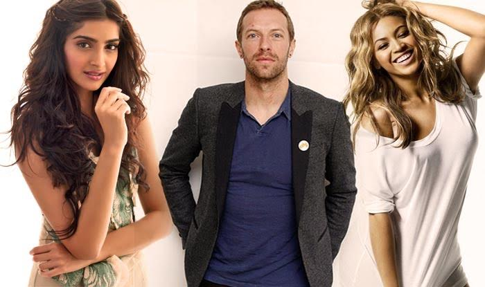 Sonam Kapoor with Chris Martin and Beyonce