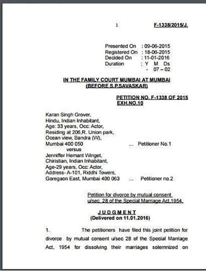karan singh grover and jennifer winget divorce papers