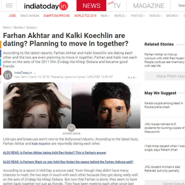 Farhan Akhtar & Kalki Koechlin dating! Planning to move in together after ending marriage with Adhuna Bhabani?