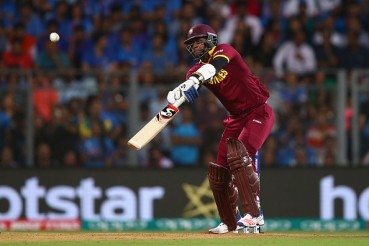 A shot that led to Samuels' dismissal against India in the semi-final against India