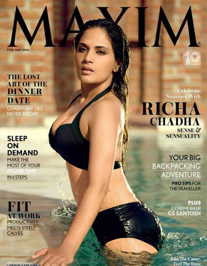 Richa Chadha sizzles in a bikini on Maxim India Cover ...
