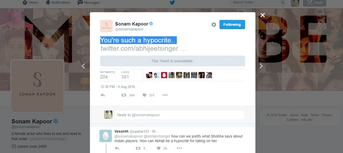 Sonam Kapoor tweet to Abhijeet removed Twitter